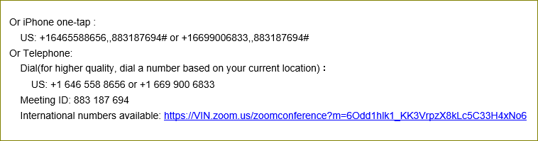To listen to orientation audio dial in using Zoom phone number provided or use your computer's speaker and microphone